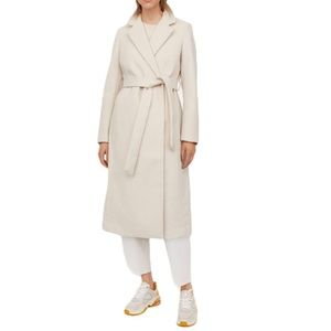 H&M Light Beige Ivory Herringbone Tie Belt Coat M